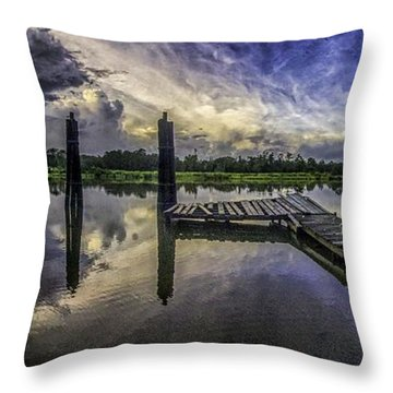 Throw Pillow featuring the digital art Bon Secour Panorama by Michael Thomas