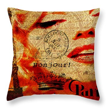 Bonjour Marilyn Throw Pillow by Greg Sharpe