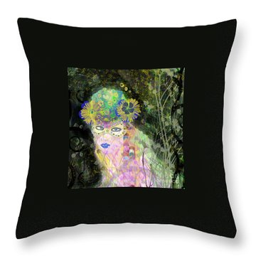 Throw Pillow featuring the mixed media Bonnie Blue by Kim Prowse