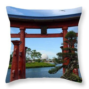 Throw Pillow featuring the photograph Bonsai Pavillion by David Nicholls