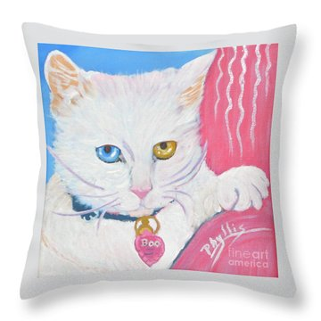 Throw Pillow featuring the painting Boo Kitty by Phyllis Kaltenbach