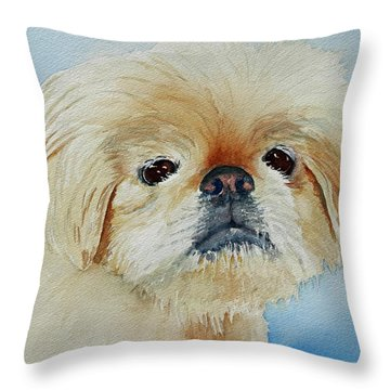 Throw Pillow featuring the painting Booboo Angel by Judy Mercer