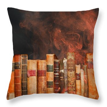 Book Burning Inspired By Fahrenheit 451 Throw Pillow