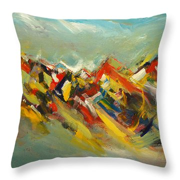 Throw Pillow featuring the painting Book Mountian by John Jr Gholson