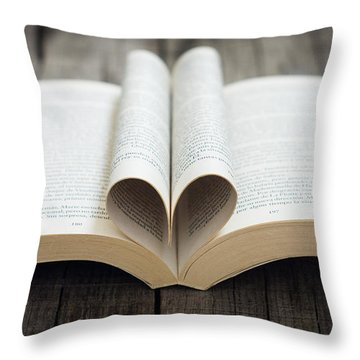 Book With Heart Throw Pillow