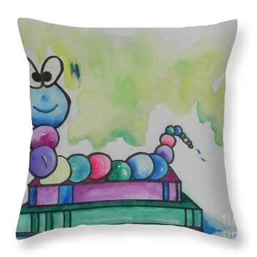 Book Worm Helps Children Read Throw Pillow by Chrisann Ellis