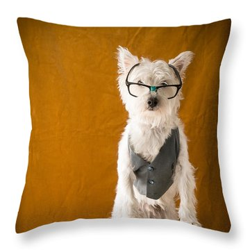 Bookish Dog Throw Pillow by Edward Fielding