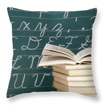 Books And Chalkboard Throw Pillow by Chevy Fleet