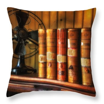 Books And Fan Throw Pillow by Jerry Fornarotto