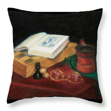 Books-chess-coffee Throw Pillow