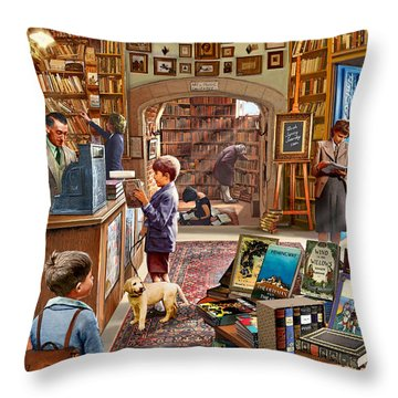 Bookshop Throw Pillow