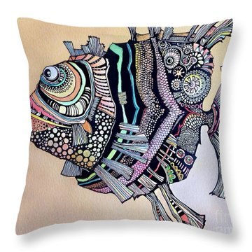 Boomer The Fish Throw Pillow by Iya Carson