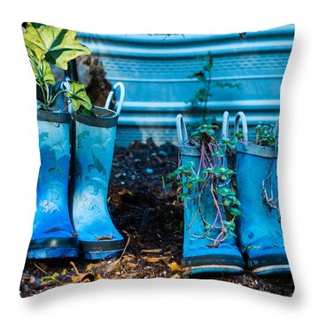 Boot Planters Throw Pillow