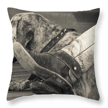 Throw Pillow featuring the photograph Boot Scootin by Steven Bateson