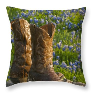 Boots And Bluebonnets Throw Pillow