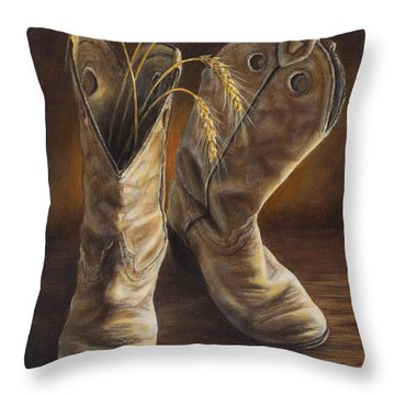 Boots And Wheat Throw Pillow
