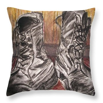 Boots In The Hall Way Throw Pillow by Teresa White