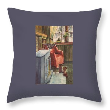 Throw Pillow featuring the painting Boots by Joy Nichols