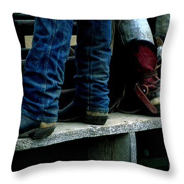Boots Tell The Story Throw Pillow by Bob Christopher
