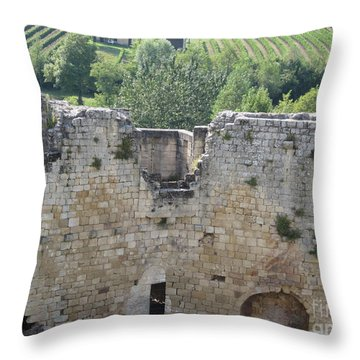 Bordeaux Castle Ruins With Vineyard Throw Pillow