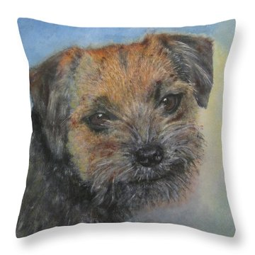 Border Terrier Jack Throw Pillow by Richard James Digance