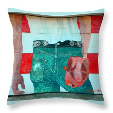 Born In The Usa Urban Garage Door Mural Throw Pillow