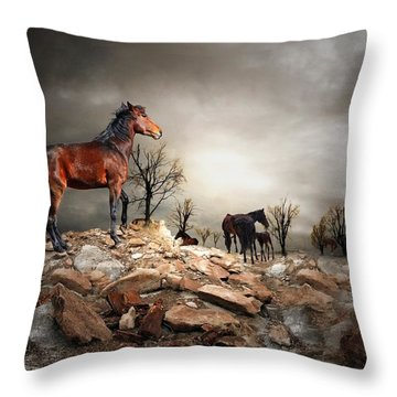 Born To Be Wild Throw Pillow by Davandra Cribbie