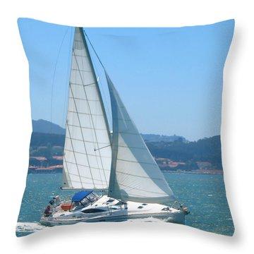 Born To Sail Throw Pillow by Connie Fox
