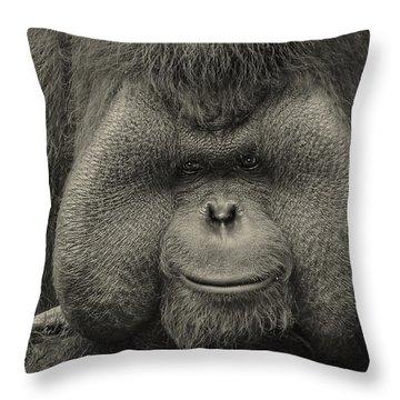 Bornean Orangutan II Throw Pillow by Lourry Legarde