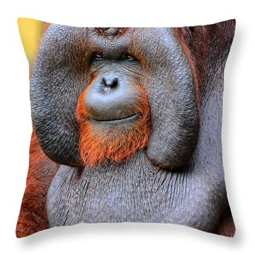 Bornean Orangutan Iv Throw Pillow by Lourry Legarde