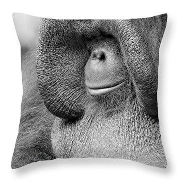 Bornean Orangutan V Throw Pillow by Lourry Legarde