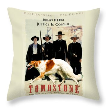 Borzoi Art - Tombstone Movie Poster Throw Pillow