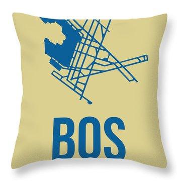 Bos Boston Airport Poster 3 Throw Pillow