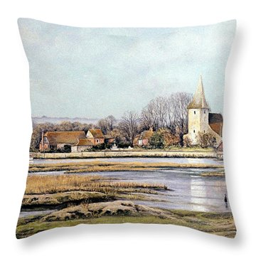 Bosham Harbour Throw Pillow by Rosemary Colyer