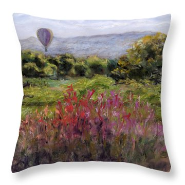Bosque Balloon View Throw Pillow by Julie Maas