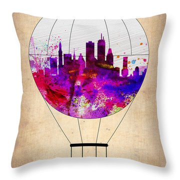 Boston Air Balloon Throw Pillow by Naxart Studio