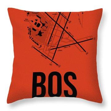Boston Airport Poster 2 Throw Pillow