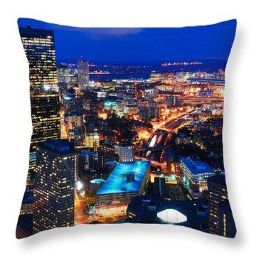 Boston At Night Throw Pillow by James Kirkikis