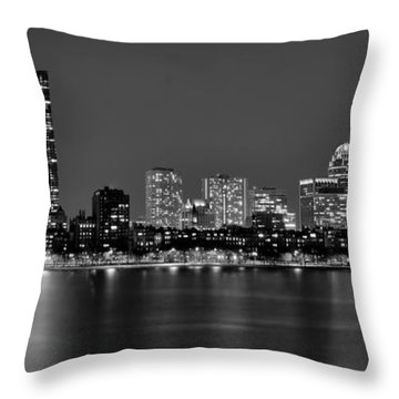 Boston Back Bay Skyline At Night Black And White Bw Panorama Throw Pillow by Jon Holiday