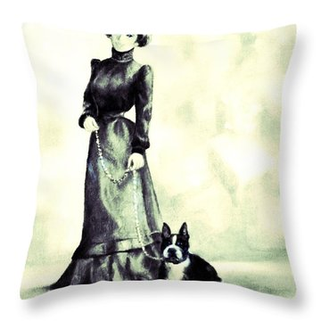 Boston Beauties 3 - Vintage Collection Throw Pillow by Beverly Pegasus