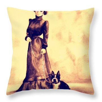 Boston Beauties 4 - Vintage Collection Throw Pillow by Beverly Pegasus
