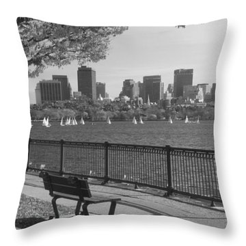Boston Charles River Black And White  Throw Pillow by John Burk