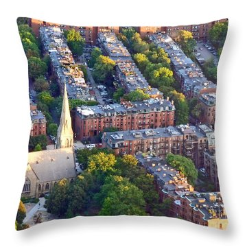 Boston Church Throw Pillow by Cheryl Del Toro