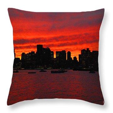 Boston City Sunset Throw Pillow