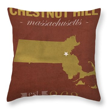 Boston College Eagles Chestnut Hill Massachusetts College Town State Map Poster Series No 020 Throw Pillow by Design Turnpike