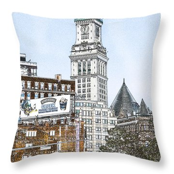 Boston Custom House Tower Throw Pillow by Fred Larson
