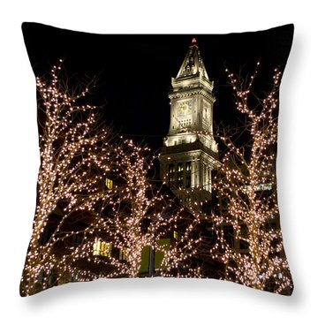 Boston Custom House With Christmas Lights Throw Pillow