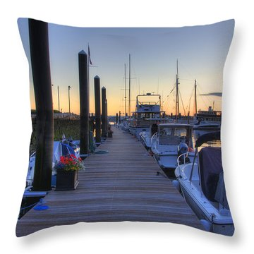 Boston Dock Sunrise Throw Pillow by Joann Vitali