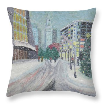 Boston First Snow Throw Pillow