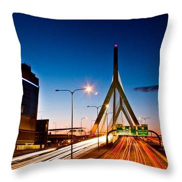 Boston Garden And Bunker Hill Bridge  Throw Pillow